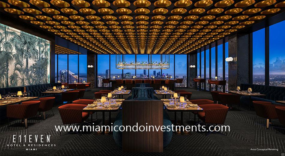 signature restaurant at E11even Hotel & Residences