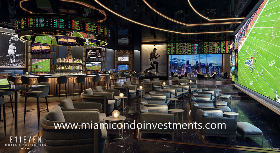 Sportsbook Lounge at E11even Hotel & Residences