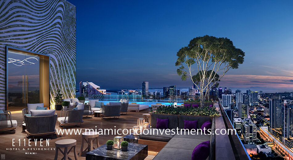 Rooftop pool and private owners club at E11even Hotel & Residences