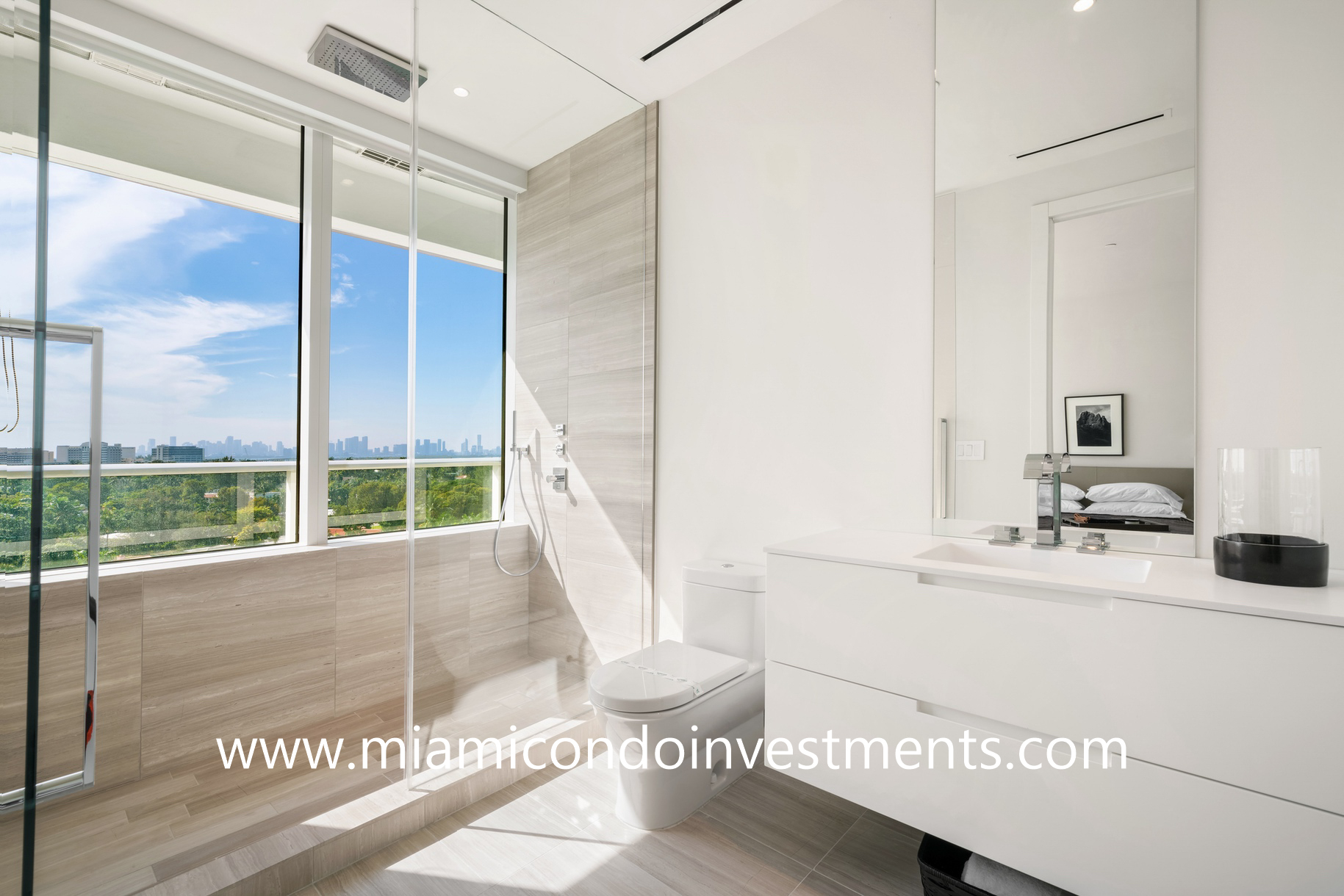 second bathroom with direct views of the downtown Miami skyline