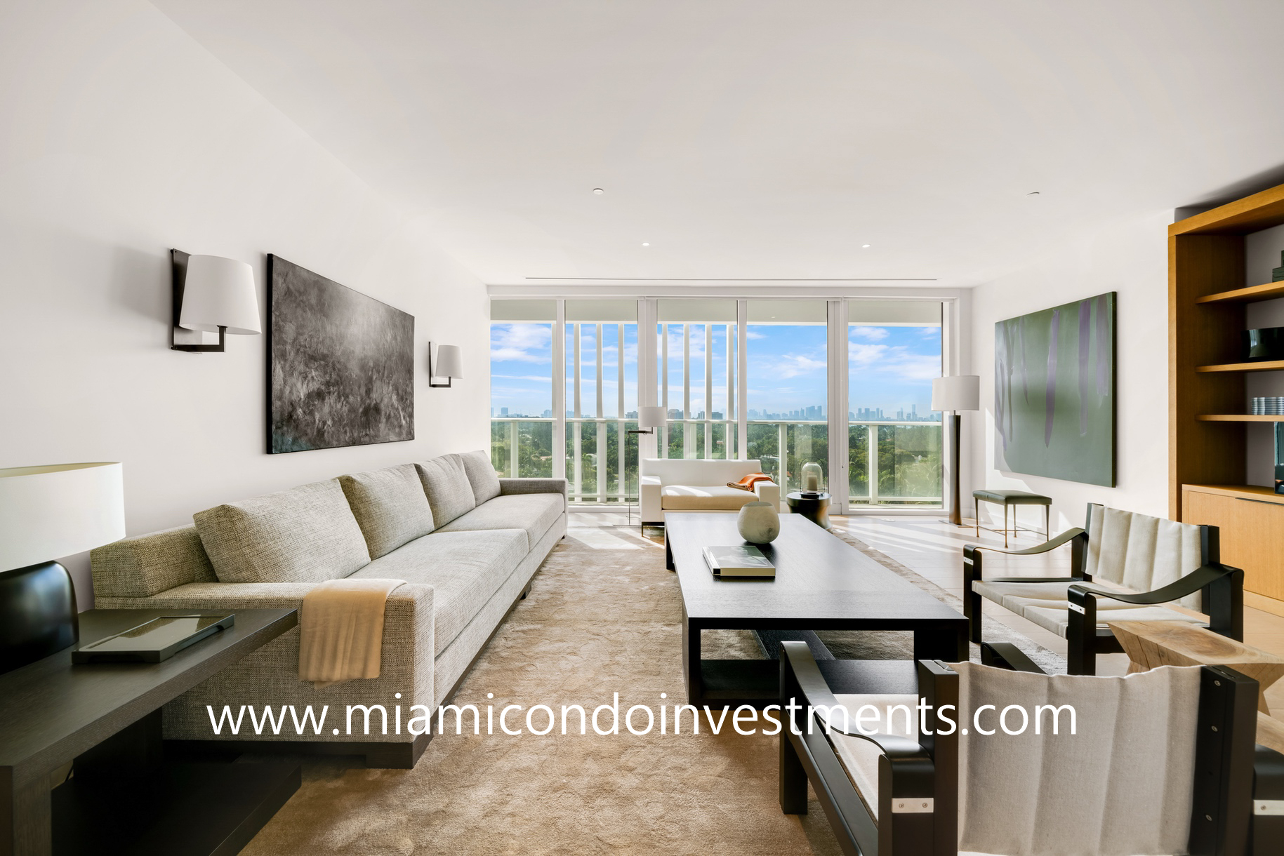 family room with downtown Miami skyline view