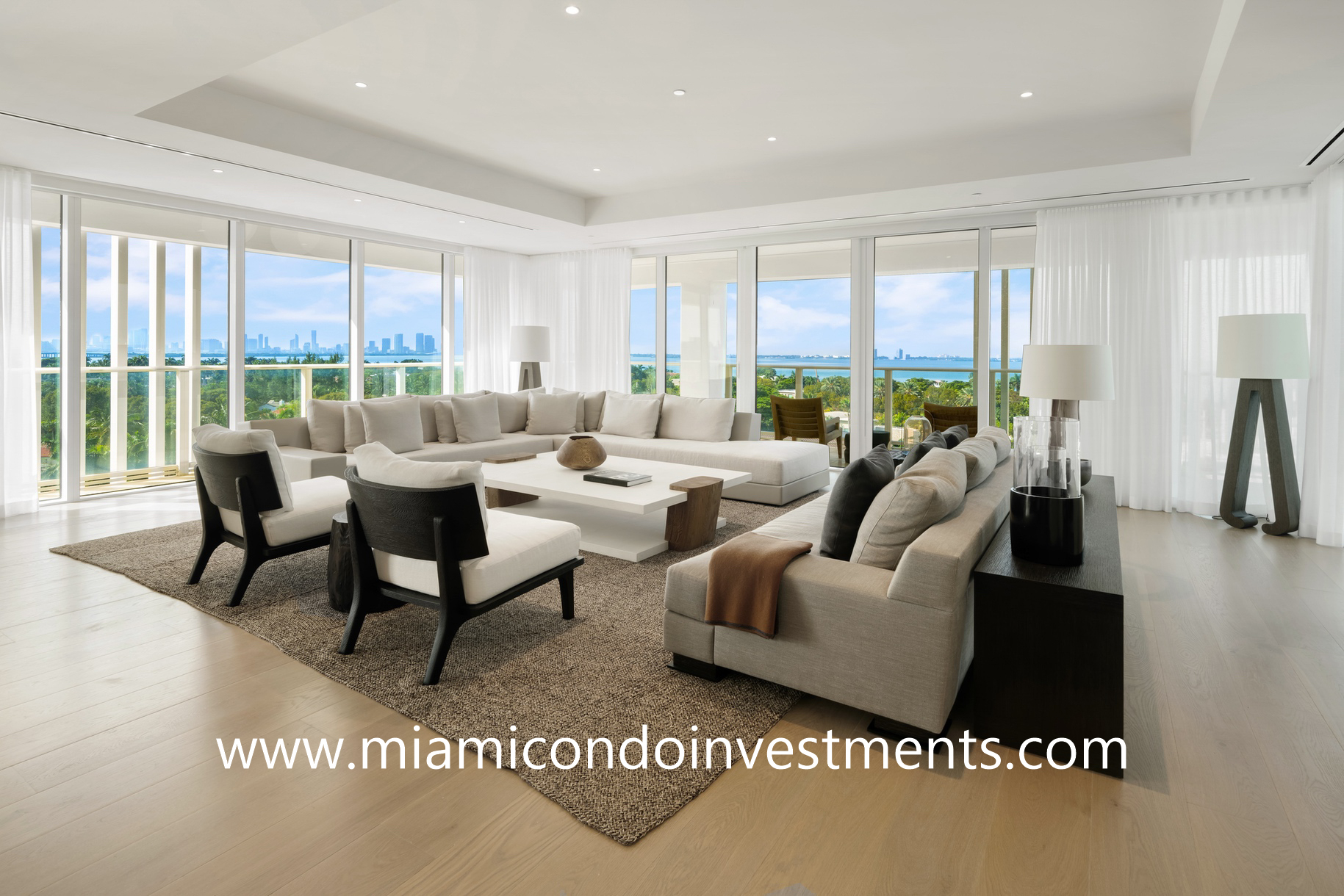LIAIGRE designed living room at The Ritz-Carlton Residences Miami Beach