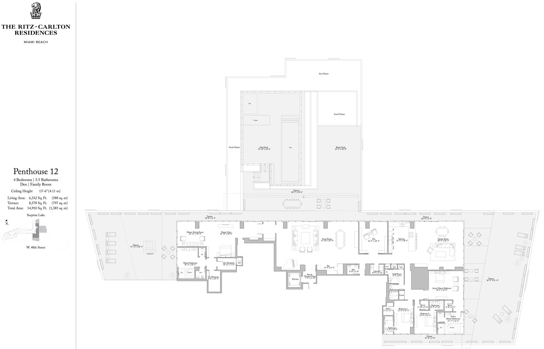 Penthouse 12 floor plan - The Ritz-Carlton Residences Miami Beach