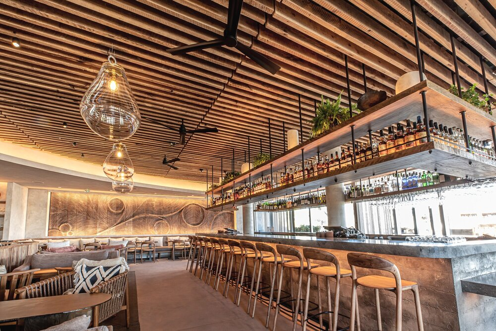 Interior photo of MILA Miamas rooftop lounge and mixology bar.