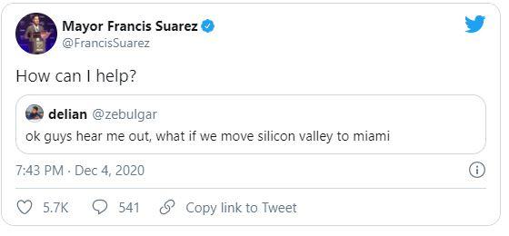 Mayor Francis Suarez tweets potential relocators wanting to move to Miami.