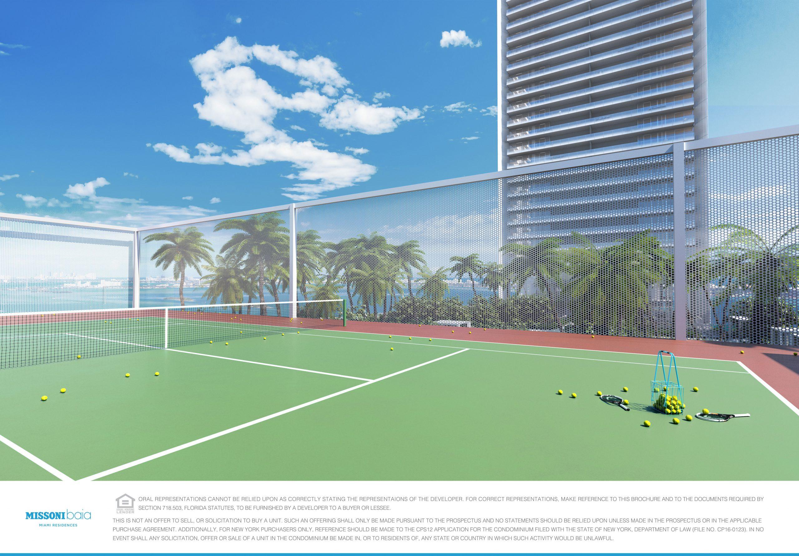 Tennis court at Missoni Baia, Miami