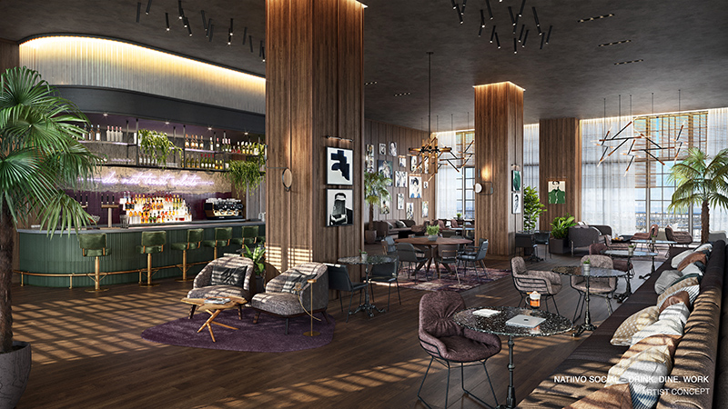 Natiivo rendering of work and social lounge.
