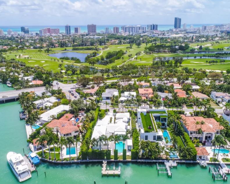 Drone photo of Shakira's Property for sale on Biscayne Bay.