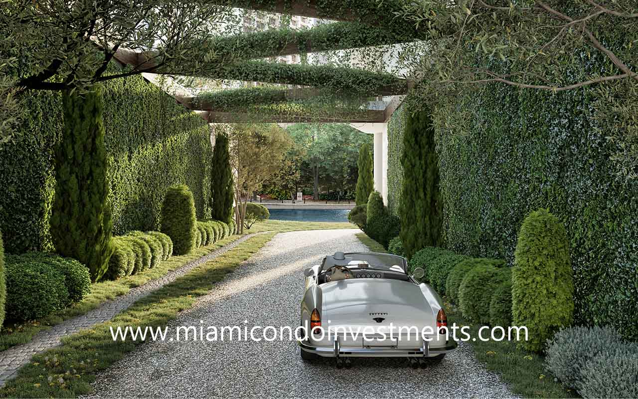 entry road to Baccarat Residences Miami