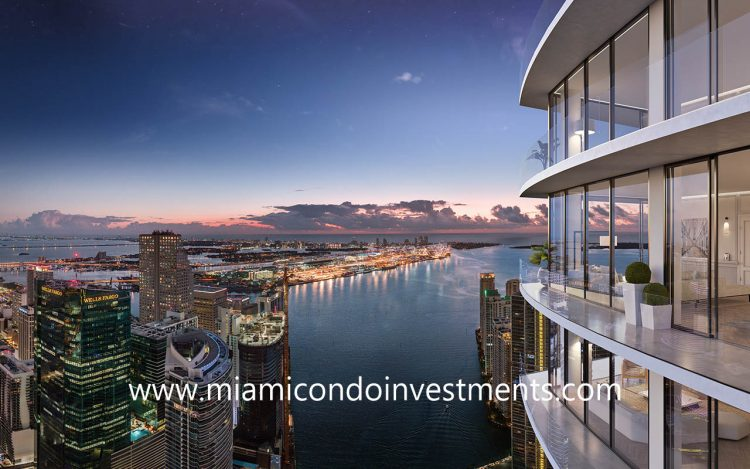 view from Baccarat Residences Tower 2 in Brickell Miami