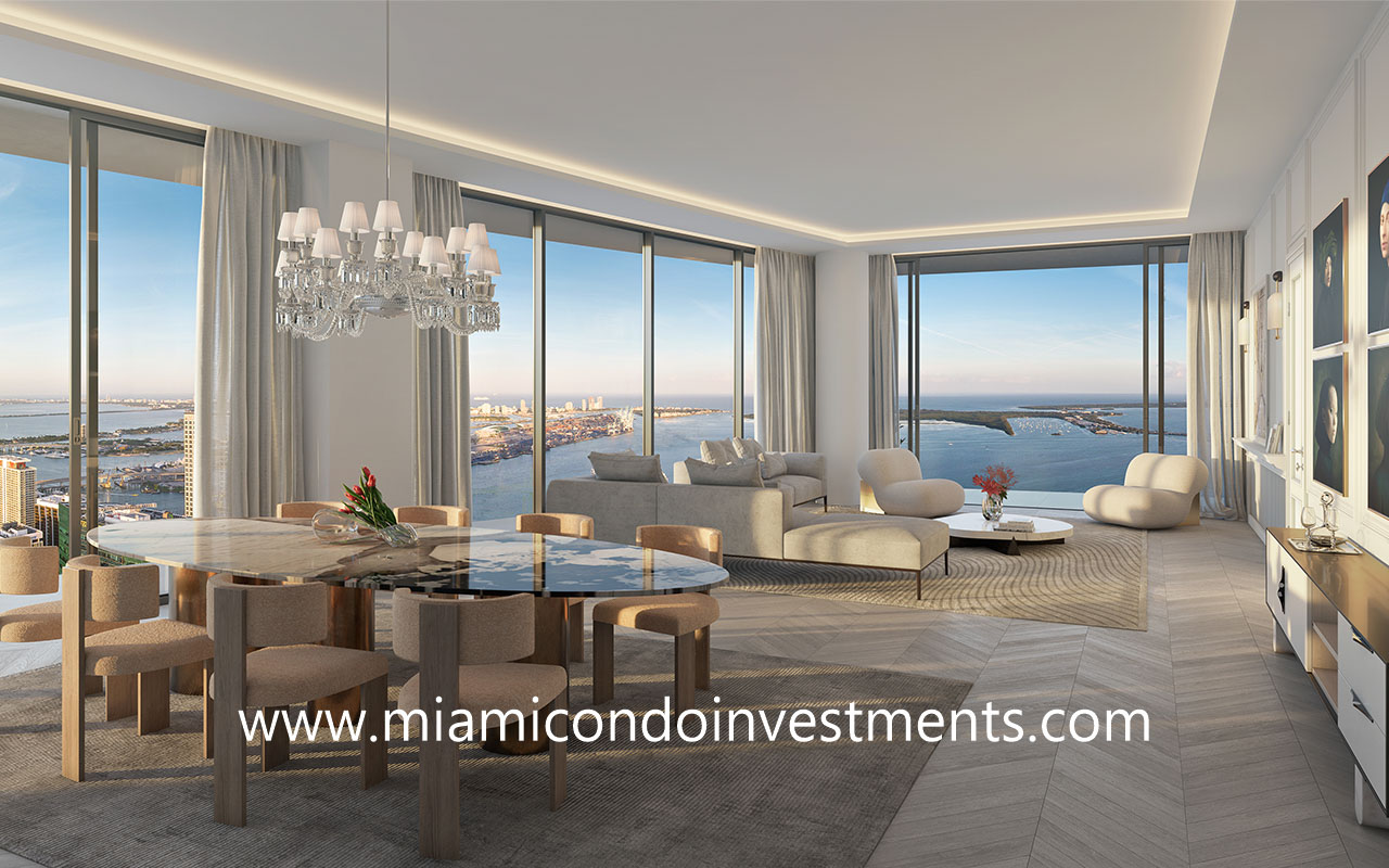 living-dining room from Baccarat Residences Miami
