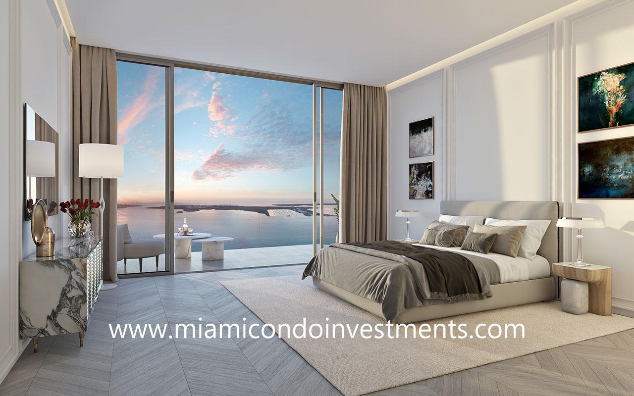 master bedroom Baccarat Residences Brickell Miami