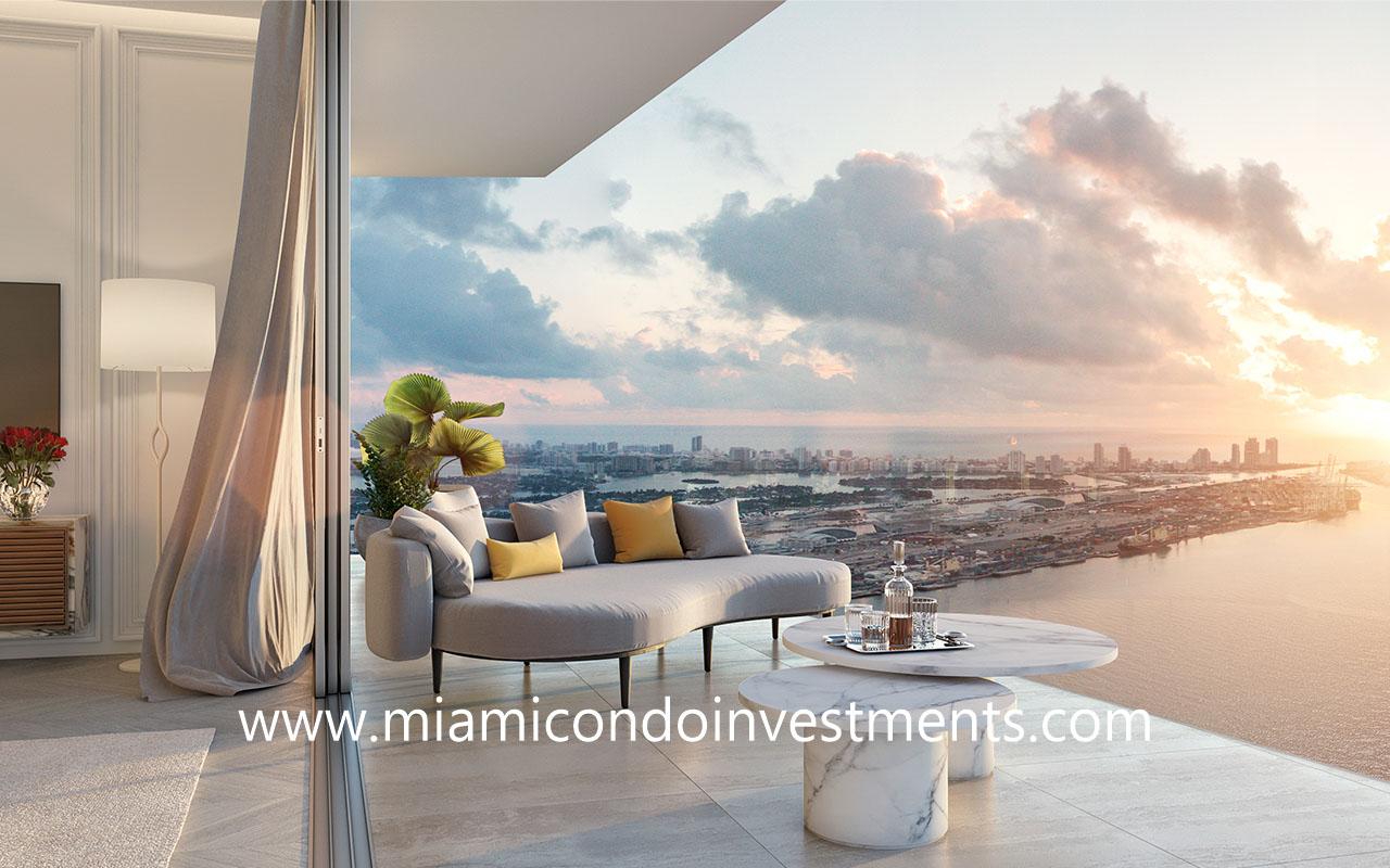 balcony from Baccarat Residences Miami Brickell