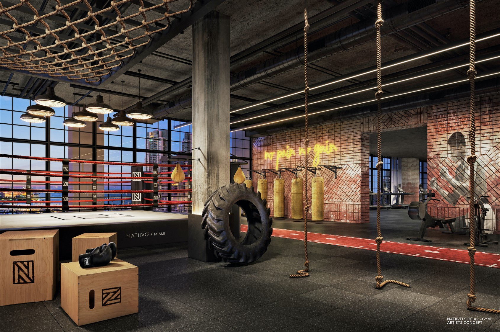 Natiivo Residences rendering of workout area.