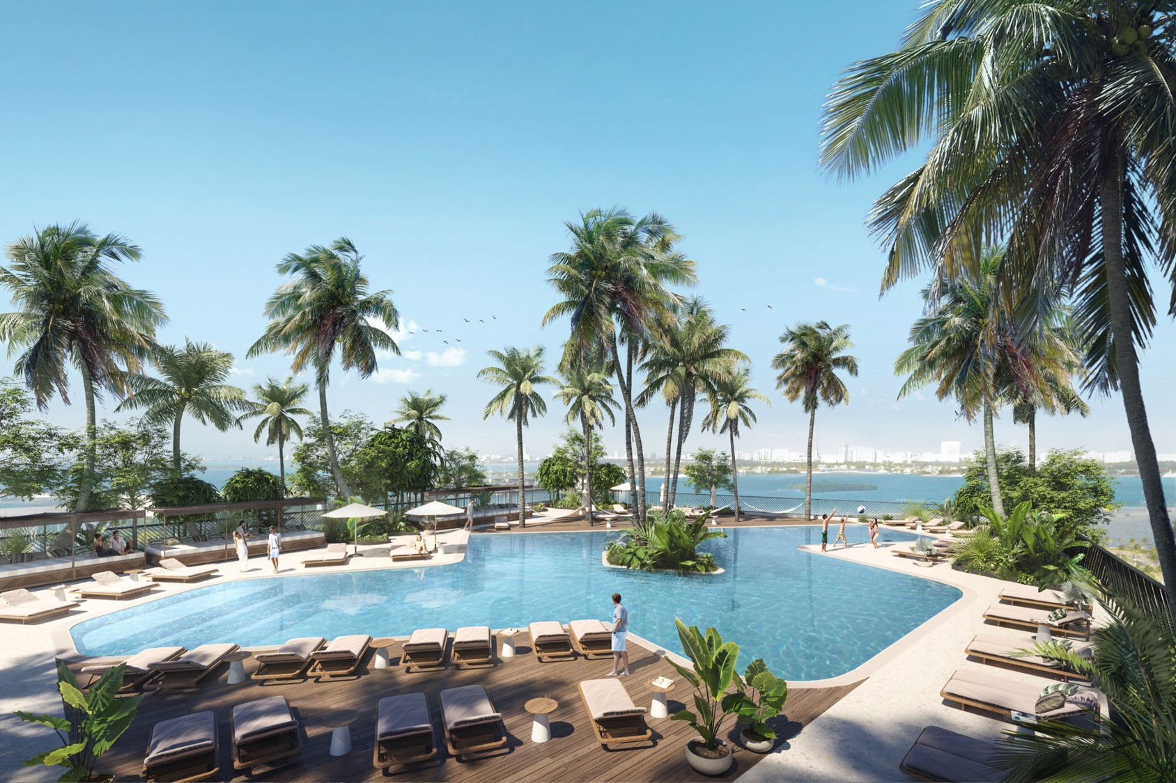Natiivo Residence rendering of outdoor pool and cabanas.
