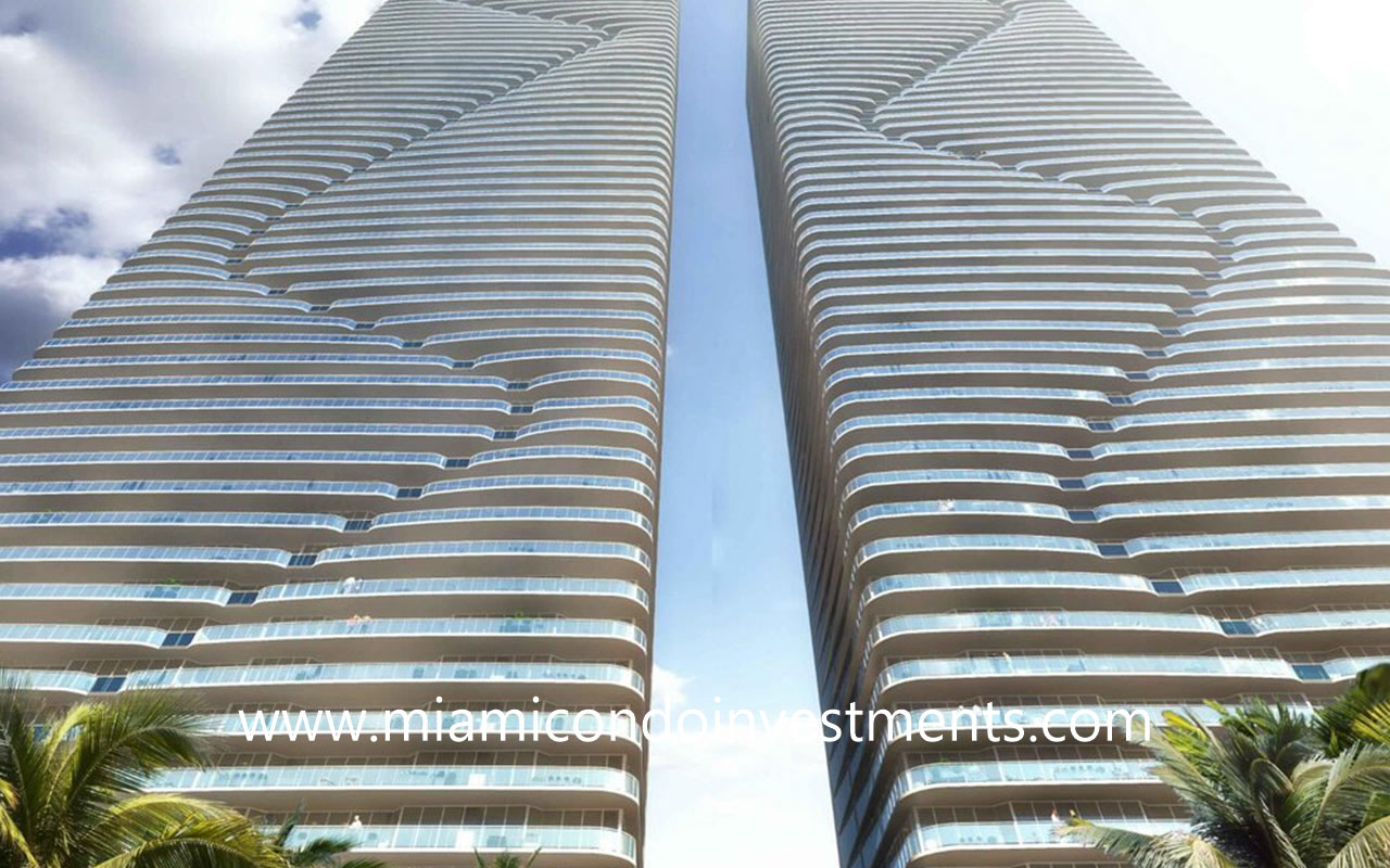 Island Bay twin towers designed by Arquitectonica