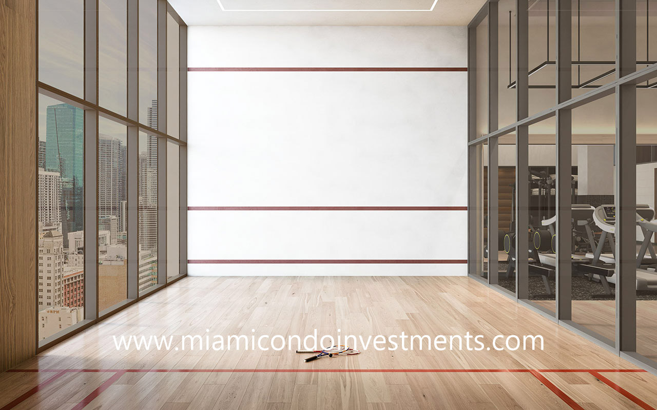 racquetball court at The District Miami