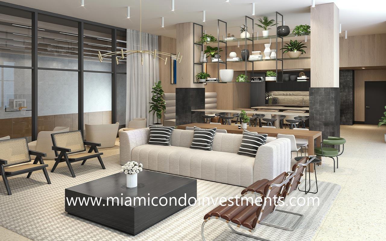 The District condominium social lounge
