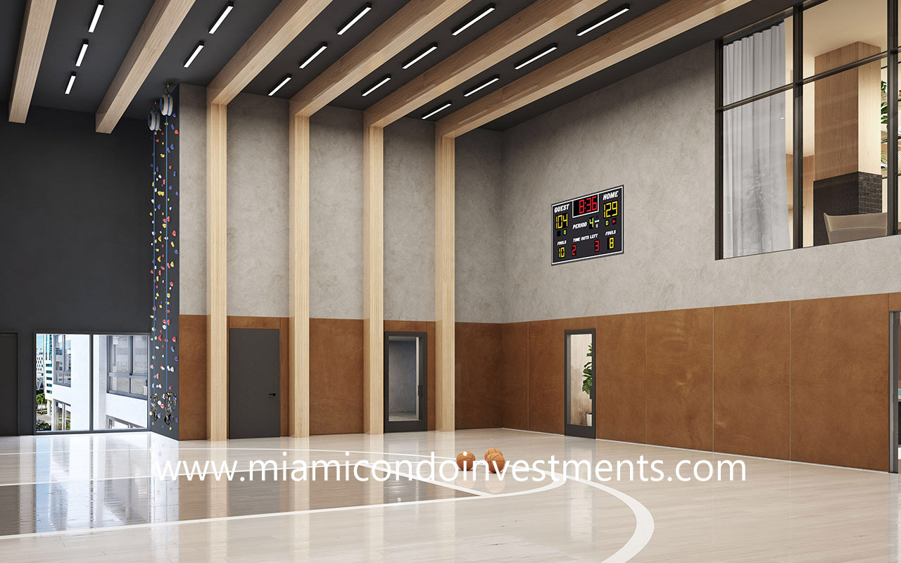 basketball court and rock climbing wall at The District Miami
