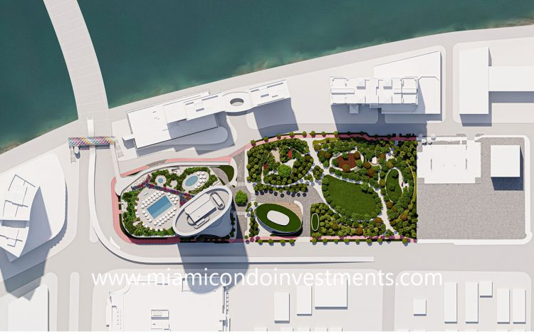 aerial site plan of Five Park Miami Beach and Canopy Park