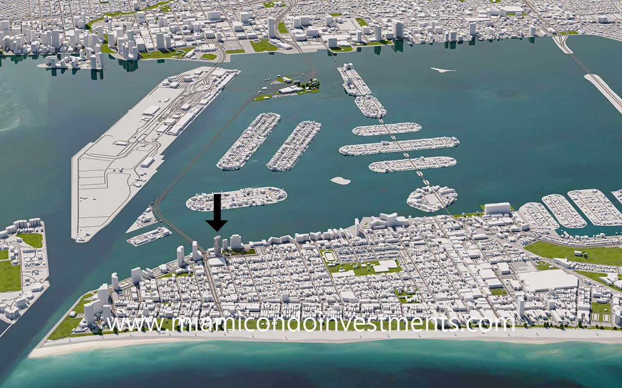 Five Park aerial map Miami Beach