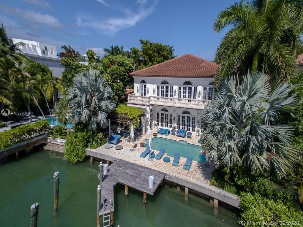 Aerial View of North Bay Road Waterfront Mansion